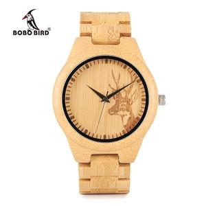 Image 2 - BOBO BIRD WD28 Full Bamboo Wooden Watch for Men Hot Elk Deer Head Story Designer Brand Quartz Wrist Watches in Gift Box