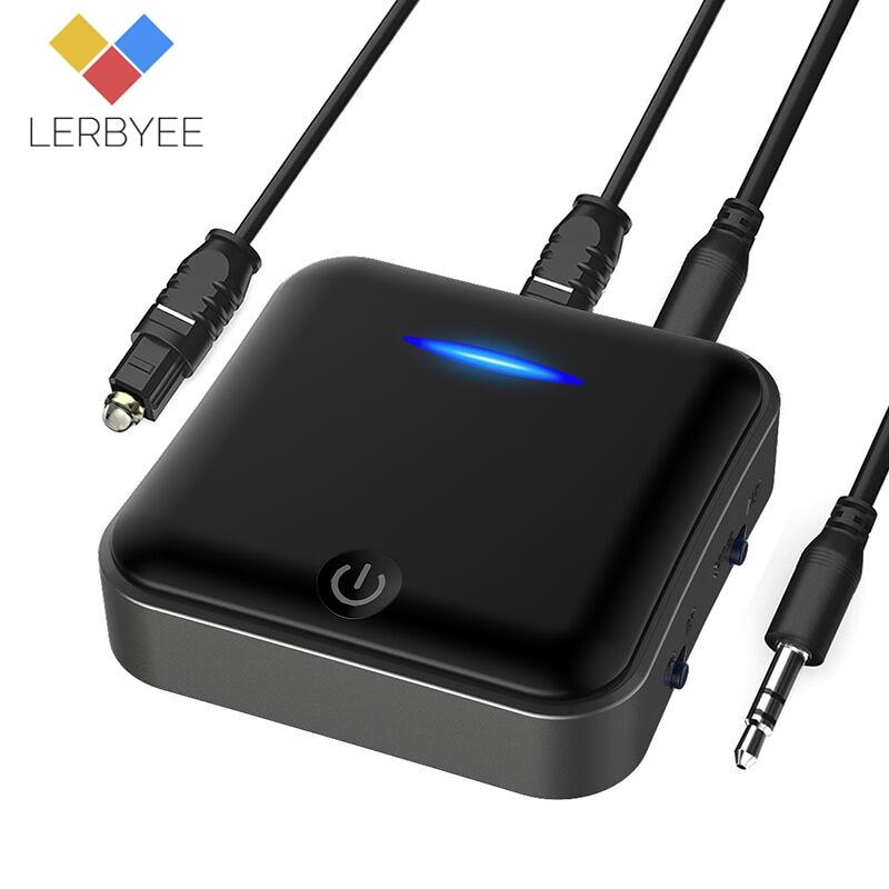 Lerbyee Bluetooth 5.0 Transmetteur Sans Fil Audio Adaptateur Mini 3.5mm TV Récepteur Numérique Optique Toslink/SPDIF pour Tablette Haut-Parleur