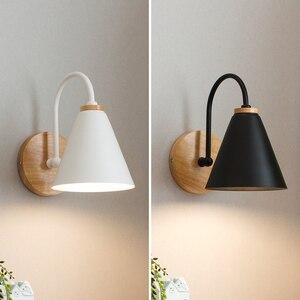 Image 2 - Luces de pared de madera para mesita de noche lámpara de pared para dormitorio, candelabro para cocina, restaurante, lámpara de pared moderna, apliques nórdicos de macarrón