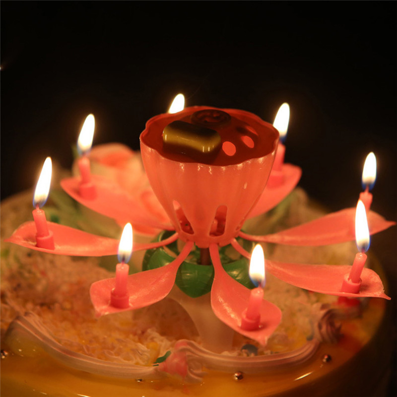 1Pc Romantic Musical Lotus Flower Rotating Happy Birthday