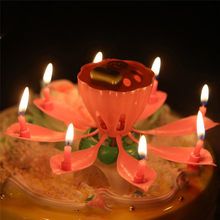 1Pc Romantic Musical Lotus Flower Rotating Happy Birthday Party Gift Can Sing the Birthday Song Candle Lights #30(China)