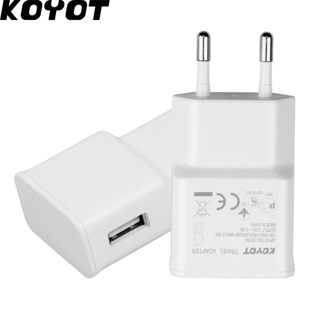 Wholesale KOYOT EU plug Adapter 5V 2A USB Wall <font><b>Charger</b></font> Mobile <font><b>phone</b></font> <font><b>charger</b></font> for <font><b>Galaxy</b></font> <font><b>S5</b></font> Note4 N9000 EU iphone 7 fast charge