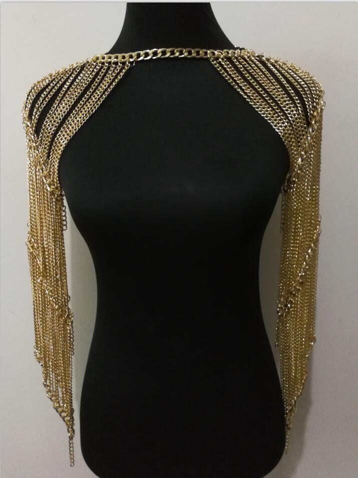 Nouveau Style De Mode WRB1013 Femmes Harnais Or Chaînes Épaule Chaîne Collier Choker Collier En Or Bijoux Accessoires 3 Couleurs