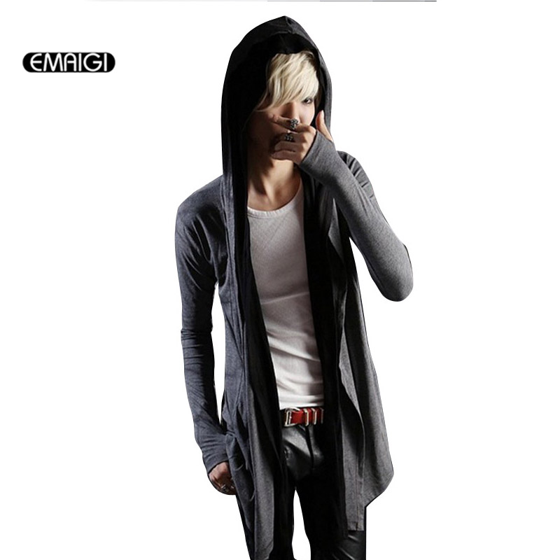 Mens Long Sleeve trench Cardigan coat Males Fashion hooded trench slim fit jacket K380