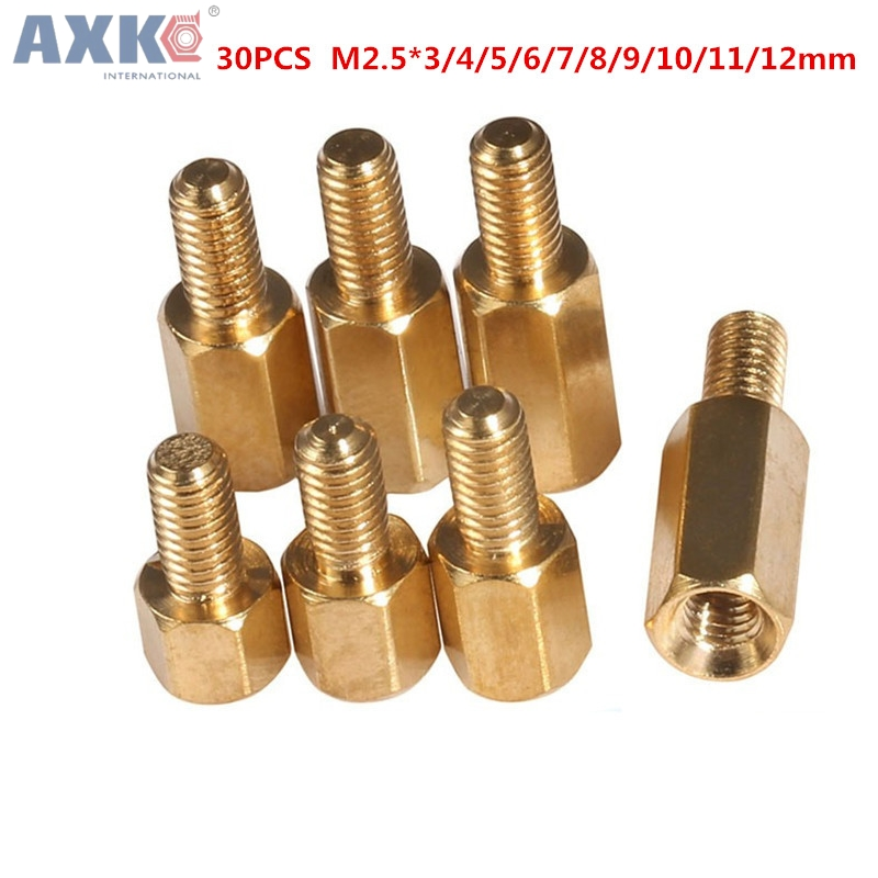 AXK 30Pcs M2.5x(3/4/5/6/7/8/9/10/11/12mm) brass standoff spacers screw hexagonal copper pillars isolation column bolt 50pcs m3 m4 double pass studs brass pillars through holes standoff screw spacers isolation spacing screw hw039
