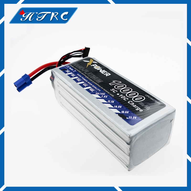 Power Lipo Battery 22.2V 10000mAh 6S 30C XT60 For RC Car Airplane Helicopter Quadcopter Parts Drone Lithium Bateria gdszhs power 22 2v 6000mah lipo battery 30c 6s battery lipo 22 2v 6000 mah 30c 6s lithium polymer batterie for rc car