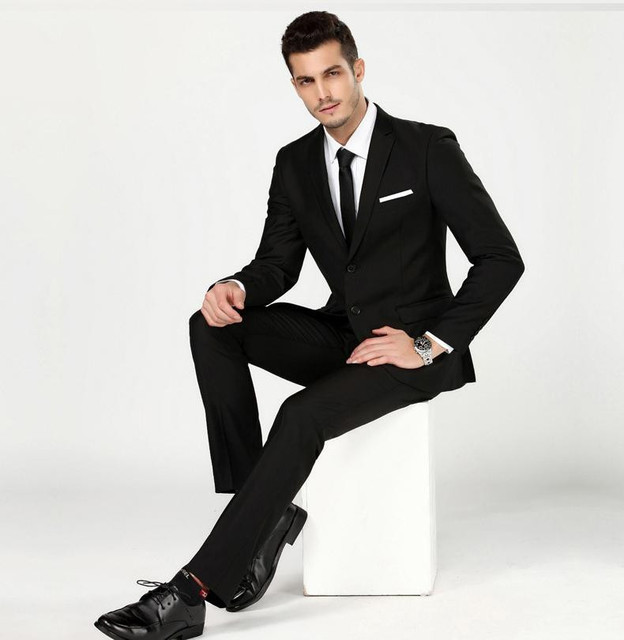 (Jacket+Pants) Men's Black Work Wear Business Formal Suit Set 2 Pieces Men Wedding Groom Suit Bestman Single Breasted Suits