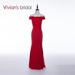 Вивиан свадебные Новое поступление пикантные вечерние платье Красный Русалка Кружева Формальное вечернее платье Бесплатная доставка