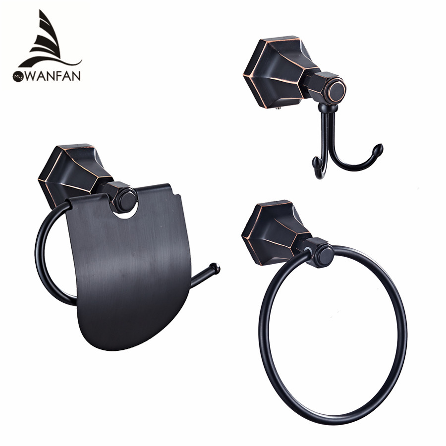 Bath Hardware Sets Towel Rings Solid Brass Black Wall Mounted Towel Holder Hangers  Bathroom Accessories Robe Hooks 93007 model fans in stock the same paragraph tsume 42cm one piece edward newgate gk resin made for collection