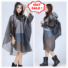 Women Transparent Raincoat Hooded Impermeable Poncho Plastic capa de chuva Bicycle Rainwear Female Colorful EVA casaco