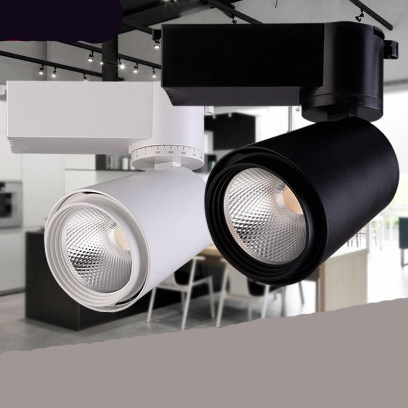 Fanlive Wholesale New Cob Track Rail Spot 20W 30W CREE COB LED Track Light Spot Wall Lamp Spotlight Tracking LED AC110V/240V