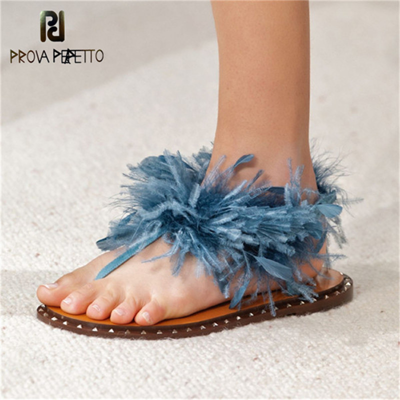 Prova Perfetto Runway Feather Sandals Women Fashion Ostrich hair decor Flat Shoes Ladies Fur sandals Flip