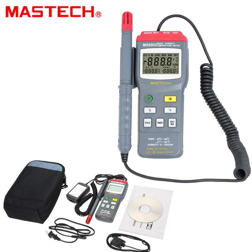 Mastech Ms6503 3 1/2 Digital Thermo Hygrometer Thermometers Temperature Humidity Meter Tester W Timer & Rs232 Interface high accuracy mastech ms6506 digital thermometers temperature gathering table meter