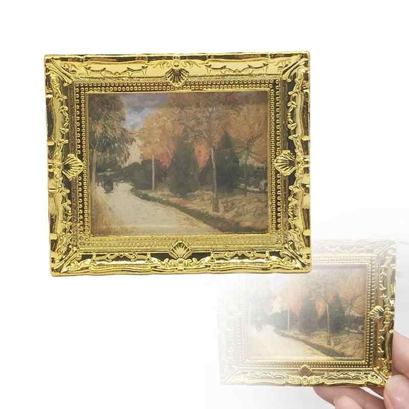 1:12 Miniature Furniture Doll House Resin Picture Frame Dongzhur 1 Pc Diy Dollhouse Mini Oil Painting Dollshouse Miniature