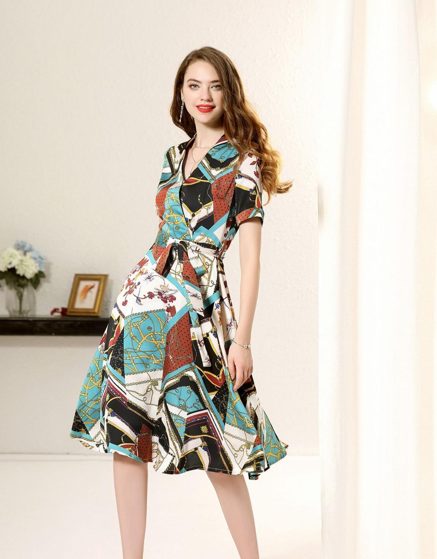 2019 robe d'été motif géométrique col en v à manches courtes a-ligne robe vintage stretch à manches courtes dames robe de grande taille h21