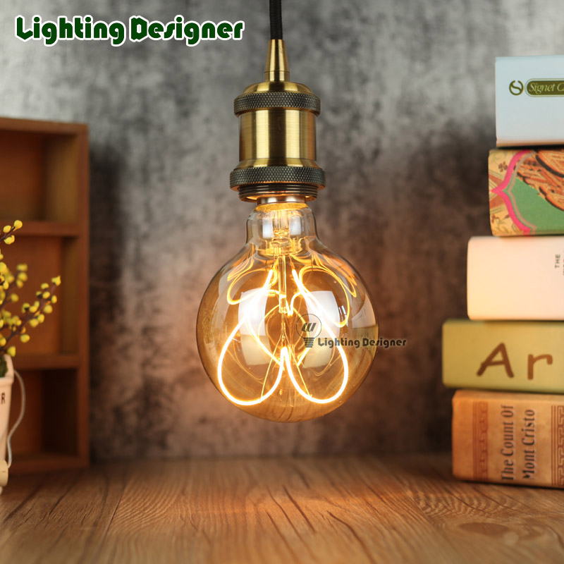 G95 LED vintage lamp globe New type Love Edison bulb soft LED dimmable filament Amber 220V 4W pendant lamp commercial lighting free shipping globle g125 amber glass led 4w spiral filament lamp for vintage edison fixture e27 220v lighting bulb