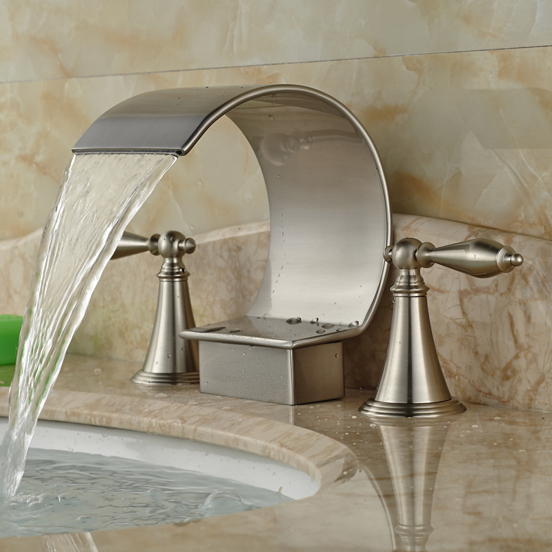 Good Quality Dual Handle Basin Mixer Taps Deck Mounted Waterfall Spout Bathroom Faucet Brushed Nickel Finish In Faucets From Home Improvement On