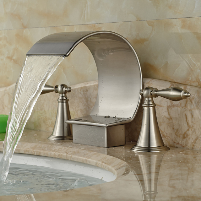 Good Quality Dual Handle Basin Mixer Taps Deck Mounted Waterfall - Nickel finish bathroom faucets