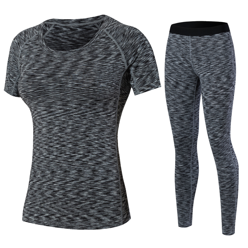 YD Yoga Sport Suits New Running Tights Women Wick Workout Gym Clothes Jogging Pants Compression T shirt Tracksuits Fitness Yoga