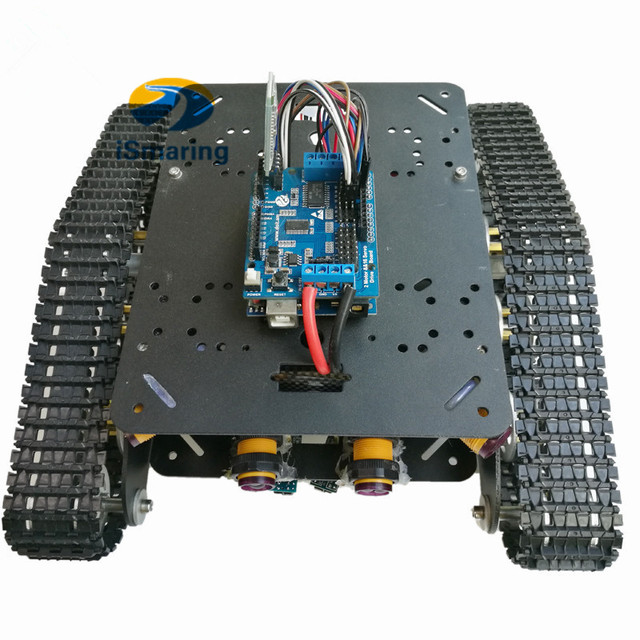 US $83 24 5% OFF|TSD300 Arduino Bluetooth/WiFi Control Crawler Tank Car  Chassis with Tracking and Obstacle Avoidance RC Remote -in Parts &  Accessories