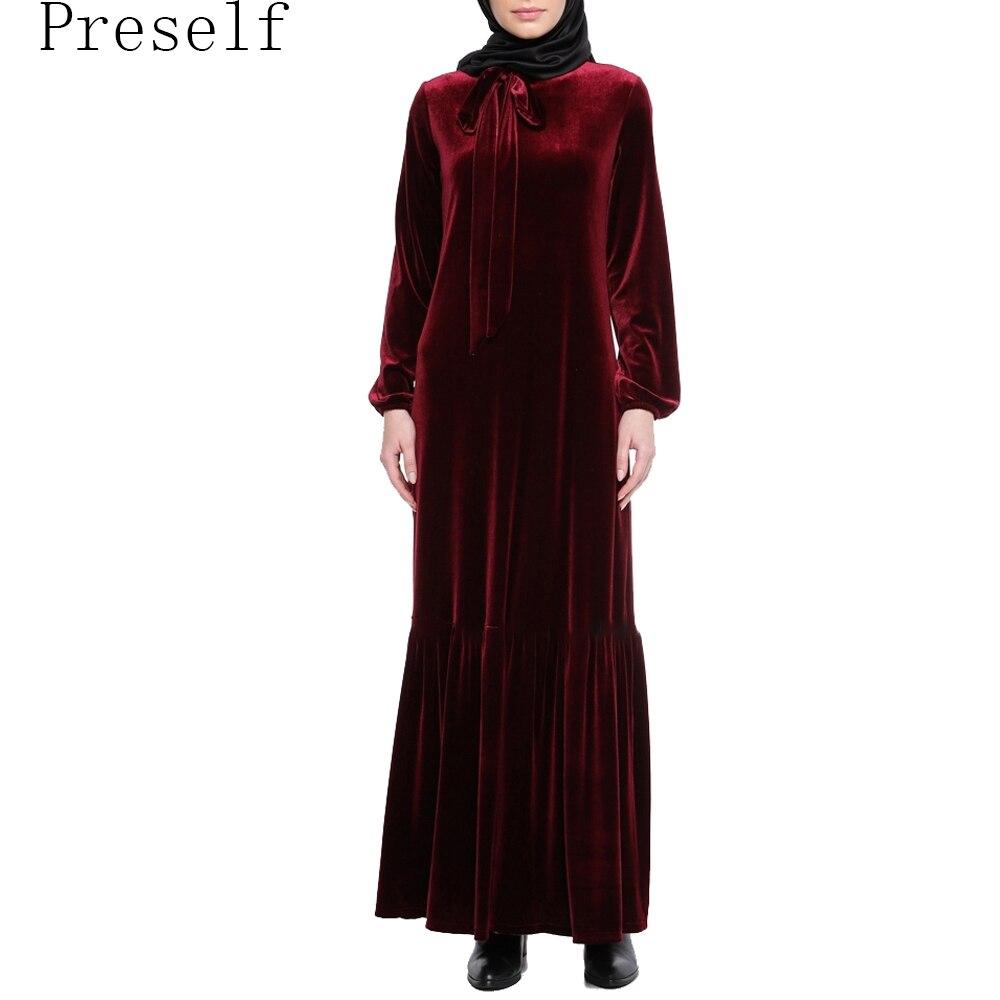 Preself Новый Для женщин элегантные из бархата с длинными рукавами Винтаж складки оборками подол Платье Макси