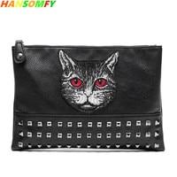 Trendy men's fashion Cat handbag Korean version of the new youth hand bag street leather rivets clutch bag ipad shoulder bags