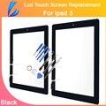 Comerciante ll piezas de recambio de cristal para ipad 3 4 panel de la tableta de la pantalla táctil del digitizador del panel frontal de cristal + botón + sticker adhesivo
