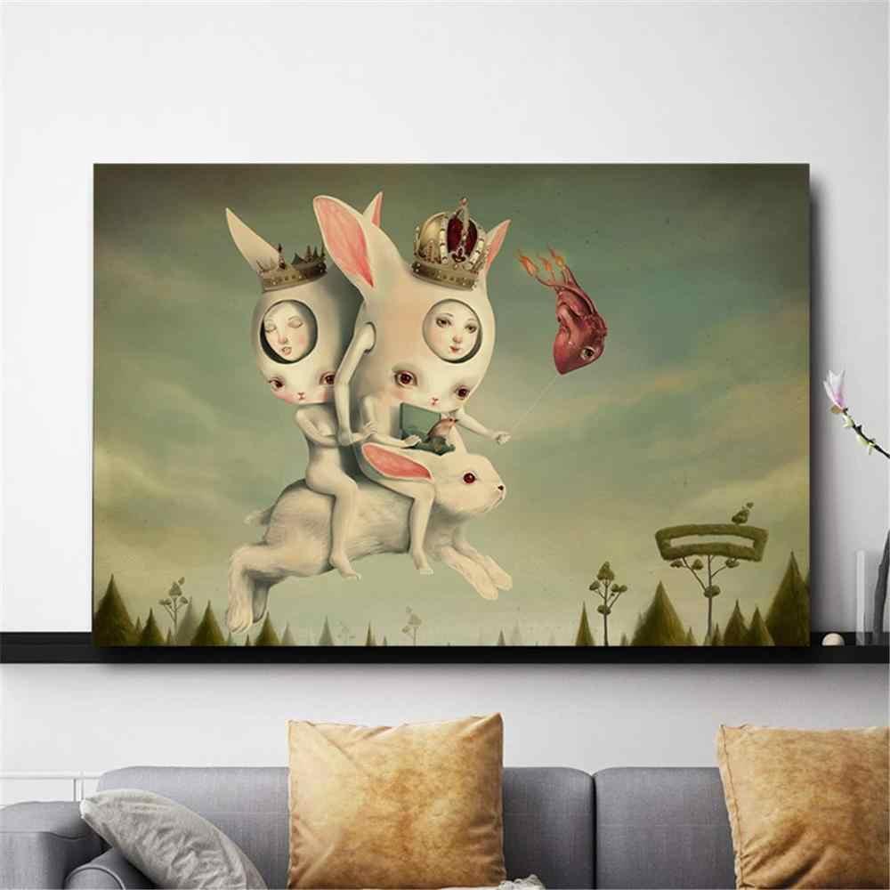 Modern Dinding Seni Lukisan Hadiah Mark Ryden Kekanak-kanakan Gelap Aneh Dunia Ratu Lebah Poster Gambar Seni Kanvas Tanpa Bingkai Dekorasi
