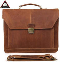 ANAPH Maleta Executive Men Lawyer Leather Briefcase/ Brown Crazy Horse 16 Laptop Case/ Office Bags For Men/ Work Tote Bag