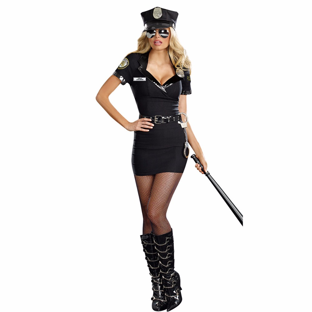 Sexy Ladies' Cosplay Police Costume Women Adult Sex Police Costume Halloween Outfit Dress Carnival Police Uniform image
