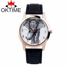 Drop shipping Brand New 1pcs OKTIME Elephant watch Woman wristwatch Vintage Leat
