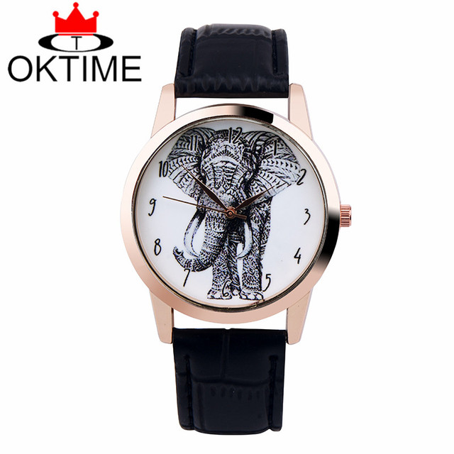 Drop shipping Brand New 1pcs OKTIME Elephant watch Woman wristwatch Vintage Leat