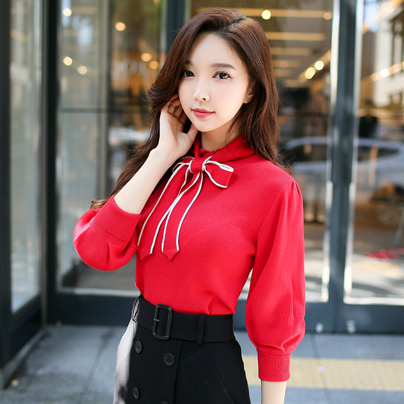 original 2017 brand autumn winter knitted pullover women fashion semi turtleneck red bow sweater women wholesale fatika fashion 2017 women autumn winter sweater dresses slim turtleneck sexy bodycon solid color robe knitted dress