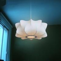 Индивидуальный дизайн шелк подвесные светильники полигональные ресторан-бар спальня домашнего освещения белый фонарь одной головы подвес...
