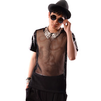 Custom Dancer Stage Costumes Men Mesh Hollow Leather Short Sleeve T shirt Male Fashion Sexy Punk Hip Hop Casual Tees Shirts