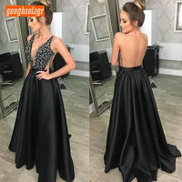 Sexy Black Dresses Evening Women 2019 Formal Prom Dresses Long Sexy Banquet V Neck Sequined A Line Lady Club Evening Party Gowns