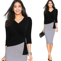 Colours Blocks Dresses Career Female Work Dress 3 4 Sleeve V Neck Women Plus Size Sheath