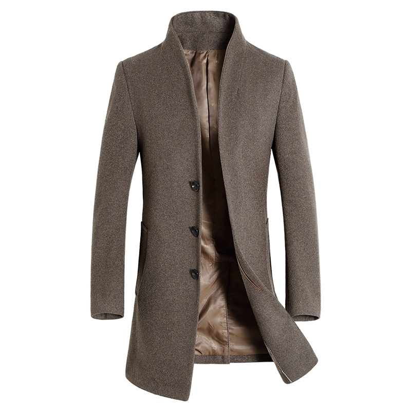 Men'S Wool Coat Slim Fit Middle Long Coat Solid Color Warm Windbreaker Overcoat Winter Woolen Coat