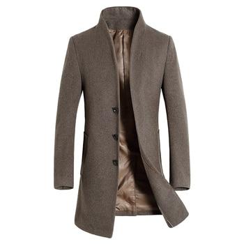 Men 'S Wool Coat Slim Fit Middle Long Coat Solid Color Warm Windbreaker Overcoat Winter Woolen Coat