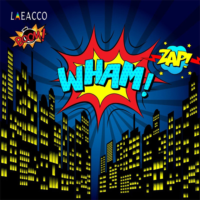 Laeacco Comic Super Hero City Party Baby Boy Children Photography Backgrounds Customized Photographic Backdrops For Photo Studio