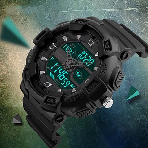 Men Three Time Zone EL Light Analog Digital Military Waterproof Wristwatch
