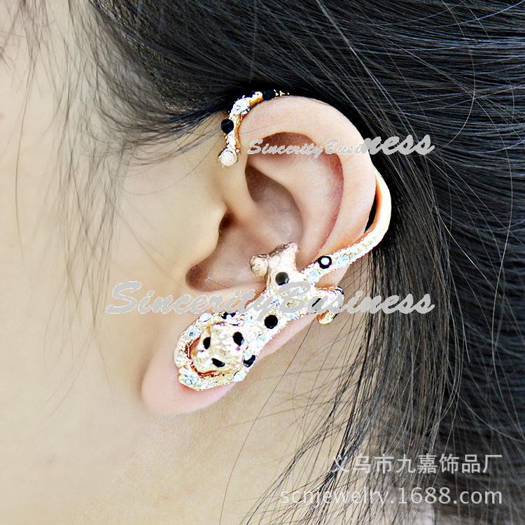 Aggressive leopard ear hanging, foreign trade new pop