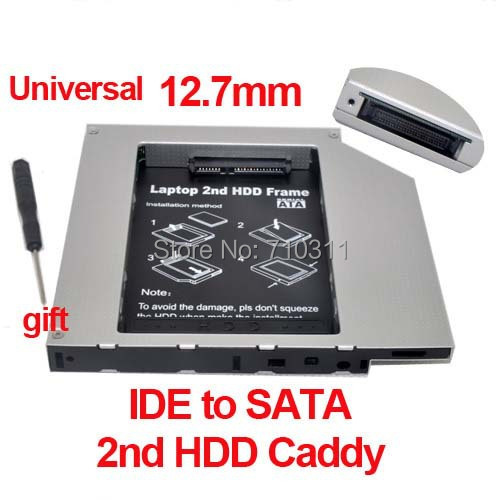 2013 New Style Whole sale IDE to SATA Hard Drive Caddy to CD Bay Adapter 12.7mm universal 2nd HDD Caddy laptops Free shipping
