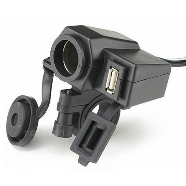 Waterproof Quick USB Motorcycle Charger with USB Cigarette Lighter Power Socket Outlet For Harley Honda Suzuki Kawasaki Yamaha