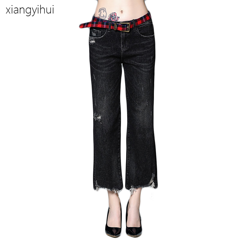 Fashion Autumn Black Elastic Vintage Denim Jeans Pants Women New Tassel Hole Light Washed Straight Ankle Length Pants Streetwear spring new fashion cotton jeans women loose high waist washed vintage big hole ripped ankle length denim straight pants mz1535
