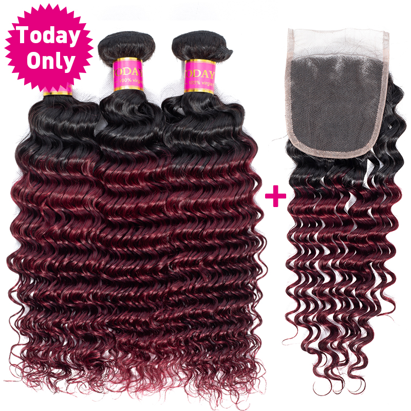 TODAY ONLY Brazilian Deep Wave Bundles With Closure Burgundy 3 Bundles With Closure Remy Ombre Human Hair Bundles With Closure