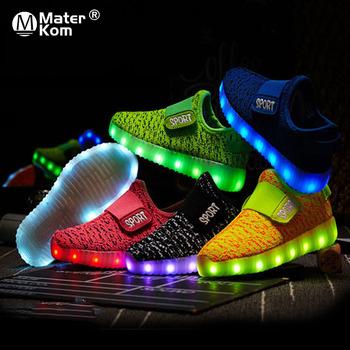 Rozmiar 25-37 dzieci Led USB ładowania świecące buty dziecięce buty pętli pętli dzieci świecące trampki dzieci Led świecące buty tanie i dobre opinie Mater Kom Pasuje prawda na wymiar weź swój normalny rozmiar 10 t 11 t 12 t 13 t 14 t 14 T Mesh (air mesh) Hook loop