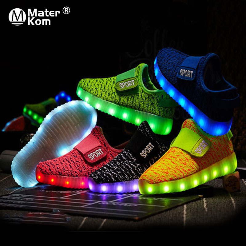 Size 25-37 Kids Led USB Recharge Glowing Shoes Children's Hook Loop Shoes Children's Glowing Sneakers Kids Led Luminous Shoes