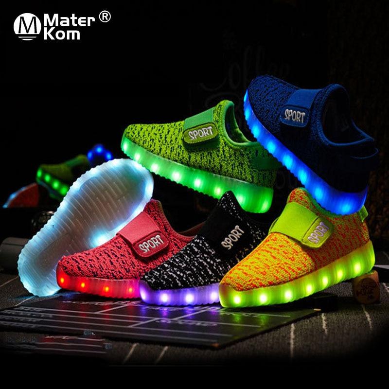 Size 25-37 Kids Led USB Recharge Glowing Shoes Children's Hook Loop Shoes Children's Glowing Sneakers Kids Led Luminous Shoes