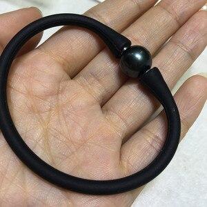 Image 5 - 16cm 17cm 18cm 20cm 黒シリコンブレスレットアクセサリーシリコーン材料のためのタヒチ真珠女性 DIY 真珠のブレスレット Acc